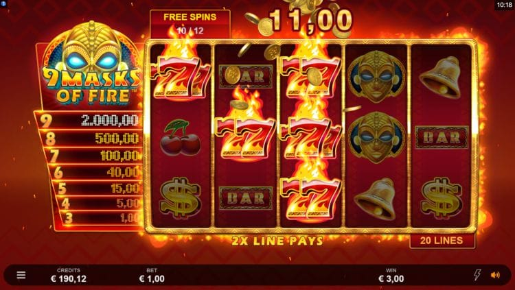 9 Masks of Fire Slot Gameplay