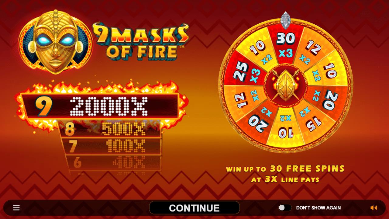 9 Masks of Fire Slot Bonus Wheel