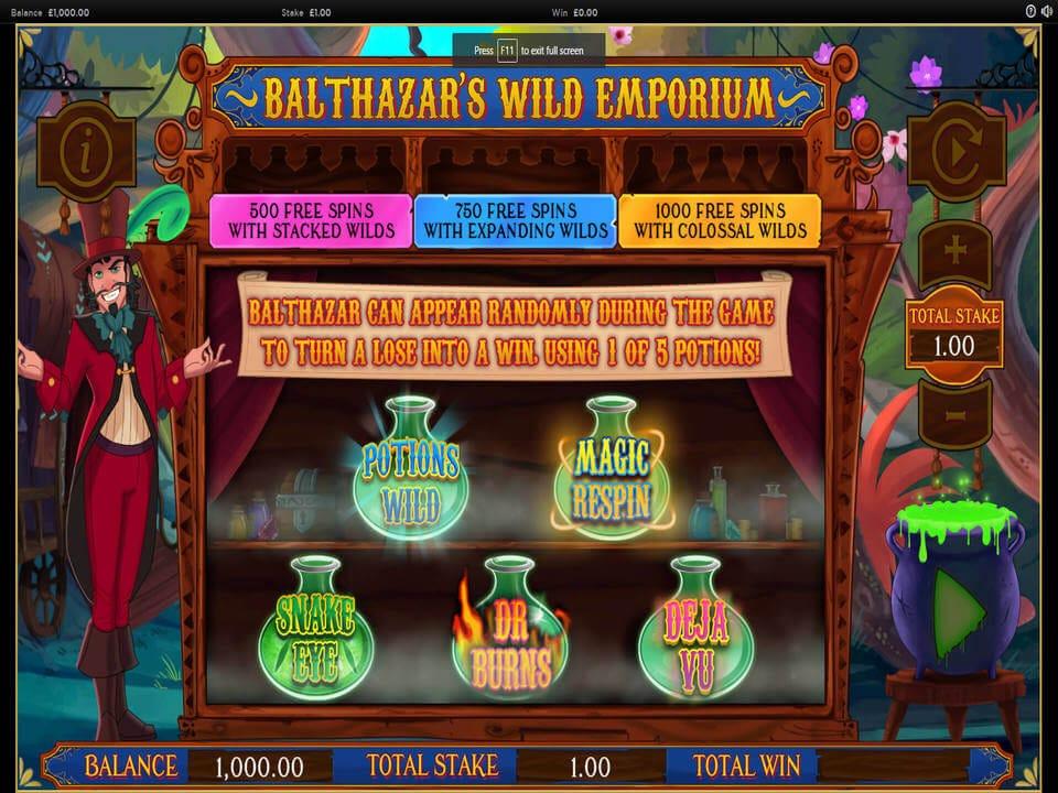 Balthazars Wild Emporium Slot Bonus
