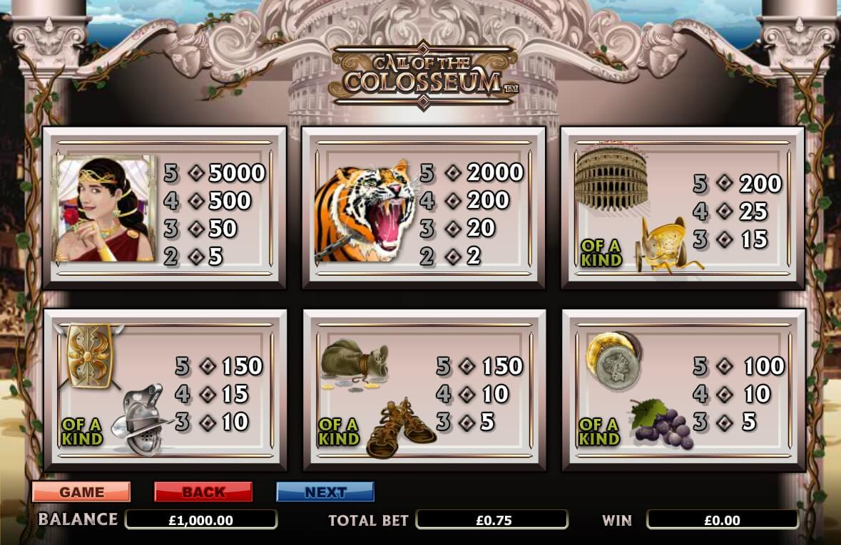 Call of the Colosseum Slot Bonus
