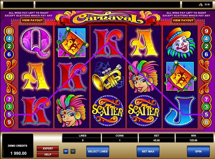 Carnaval Slot Gameplay