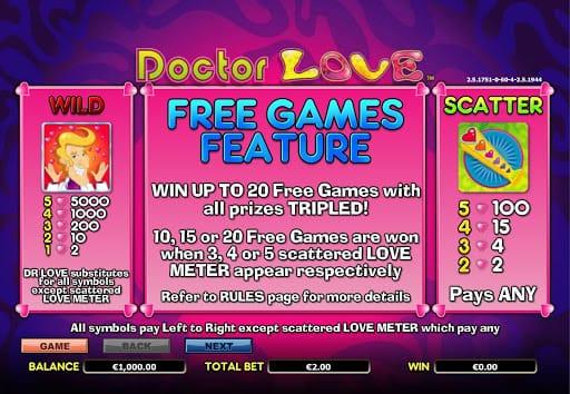 Dr Love Slot Bonus