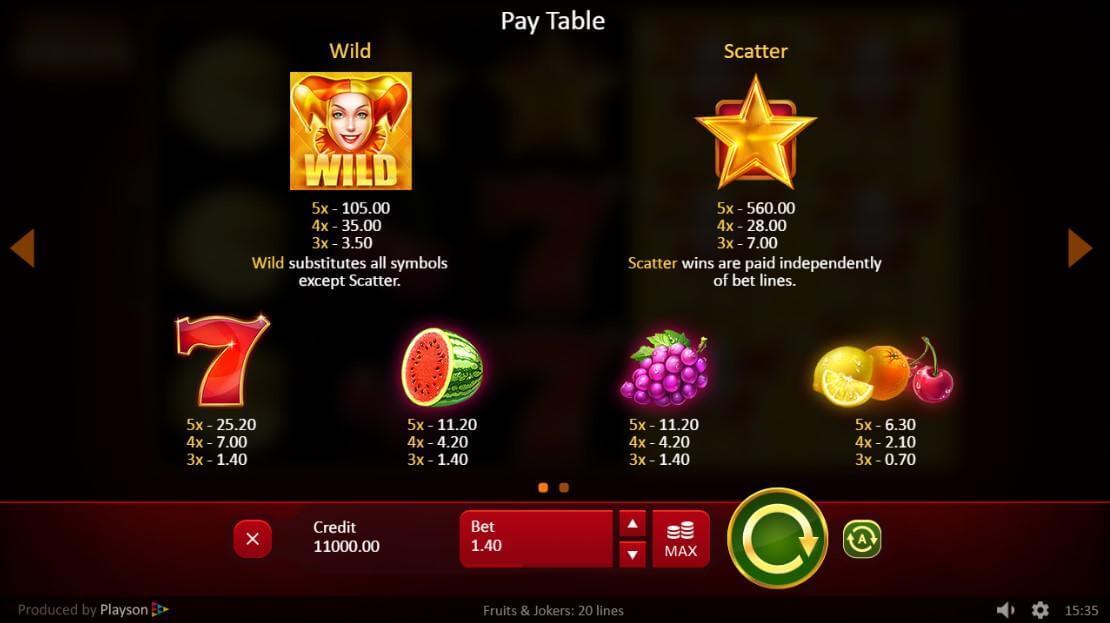 Fruits and Jokers 20 Lines Slot Bonus