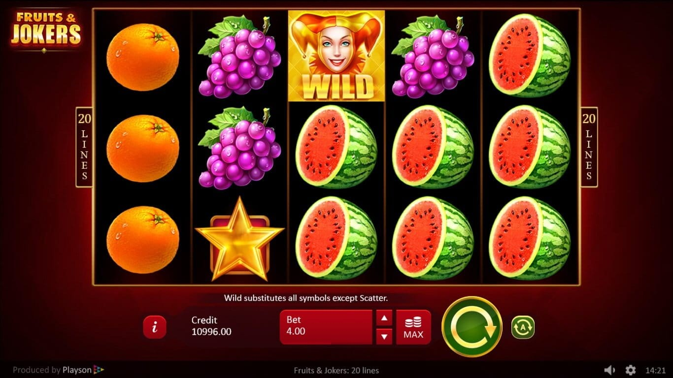 Fruits and Jokers 20 Lines Slot Gameplay