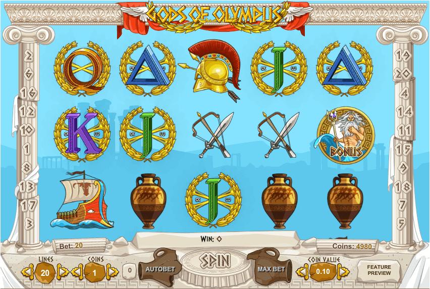 Gods of Olympus Slot Gameplay