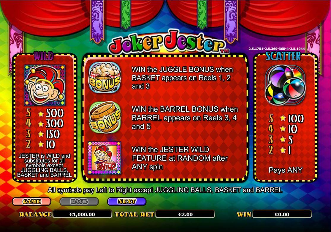 Joker Jester Slot Bonus