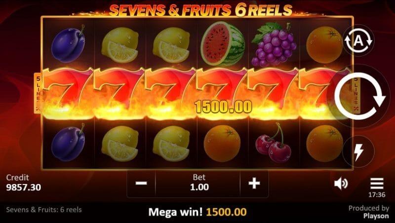 Sevens and Fruits 6 Reels Slot Bonus