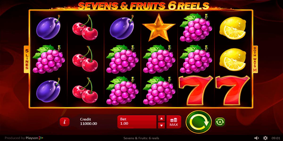 Sevens and Fruits 6 Reels Slot Gameplay