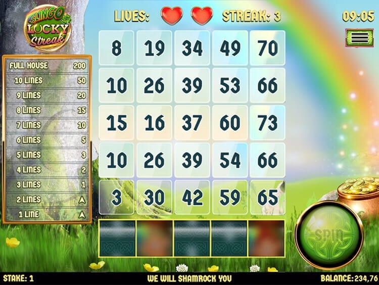Slingo Lucky Streak Slot Gameplay