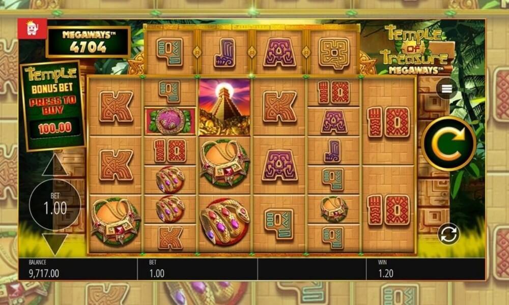 Temple of Treasure Megaways Slot Gameplay