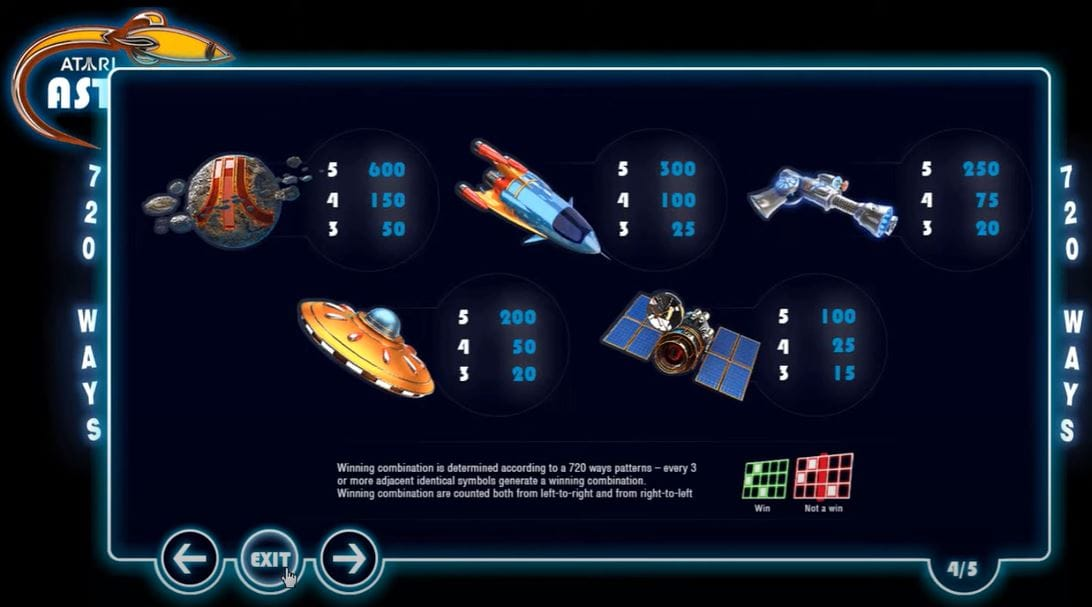 Asteroids Slot Symbols